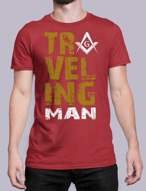 Traveling Man T-Shirt Traveling man masonic red shirt 39