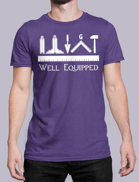Well Equipped Masonic T-shirt Well Equipped purple shirt 41