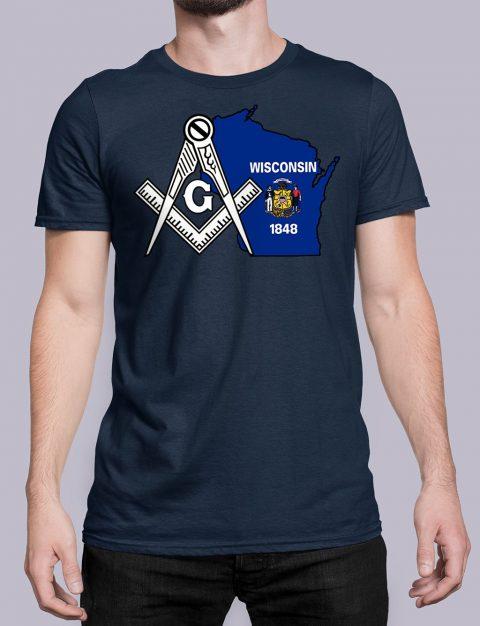 Wisconsin Masonic Tee Wisconsin navy shirt