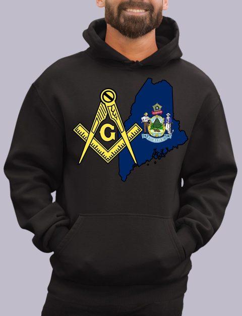 Maine Masonic Hoodie maine black hoodie