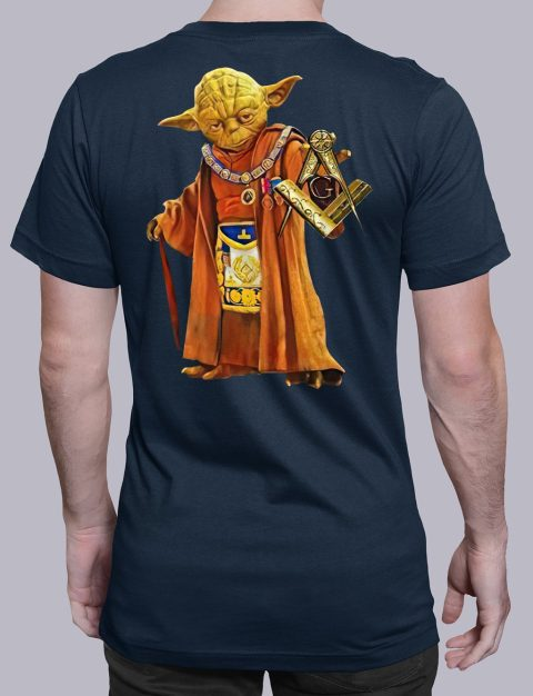 Master Yoda Back Masonic T-Shirt master Yoda back masonic t shirt navy