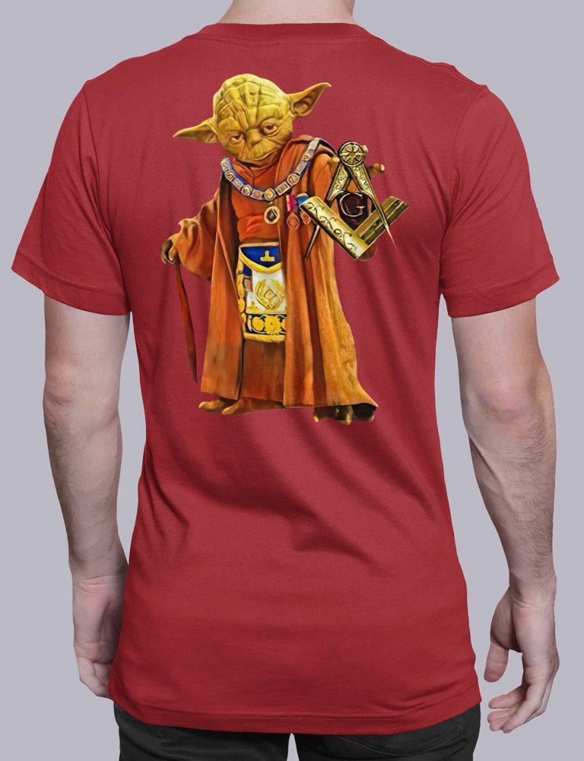 master Yoda back masonic t shirt red