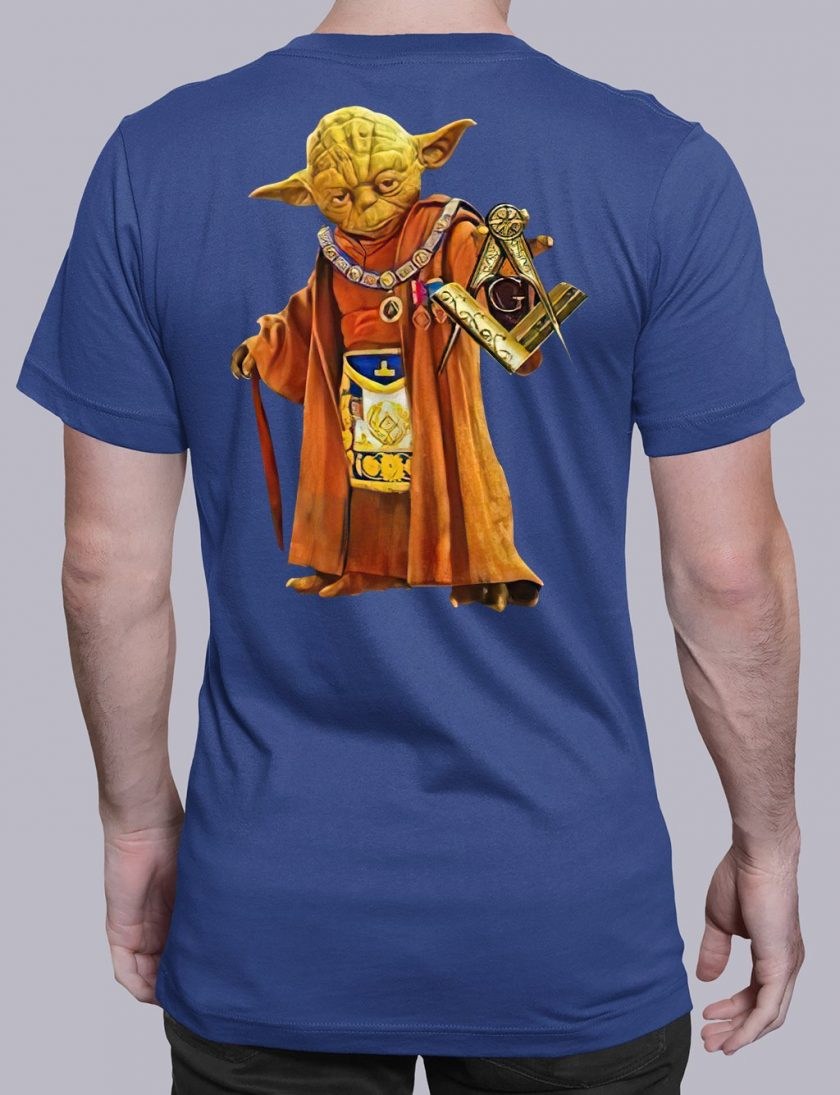 master Yoda back masonic t shirt royal blue
