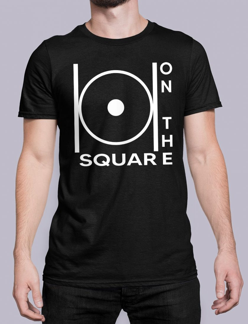 on the square black shirt