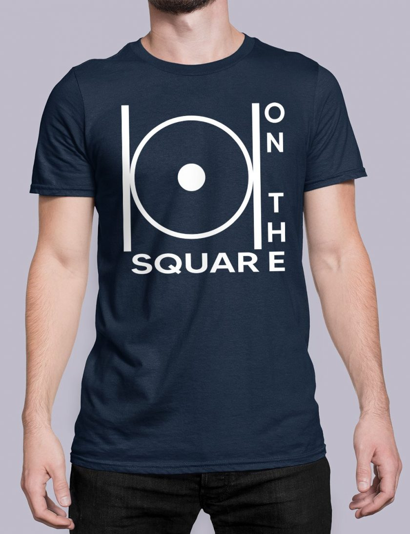 on the square navy shirt