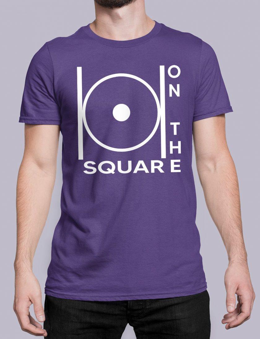 on the square purple shirt