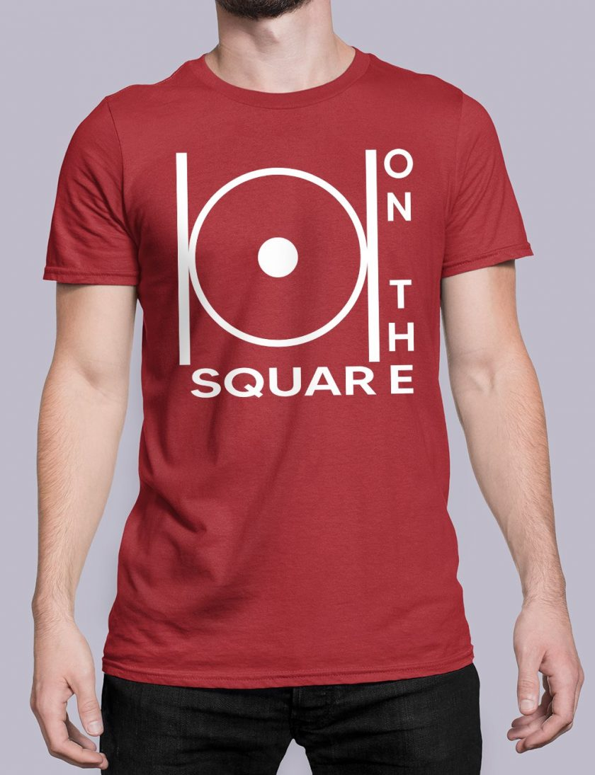 on the square red shirt