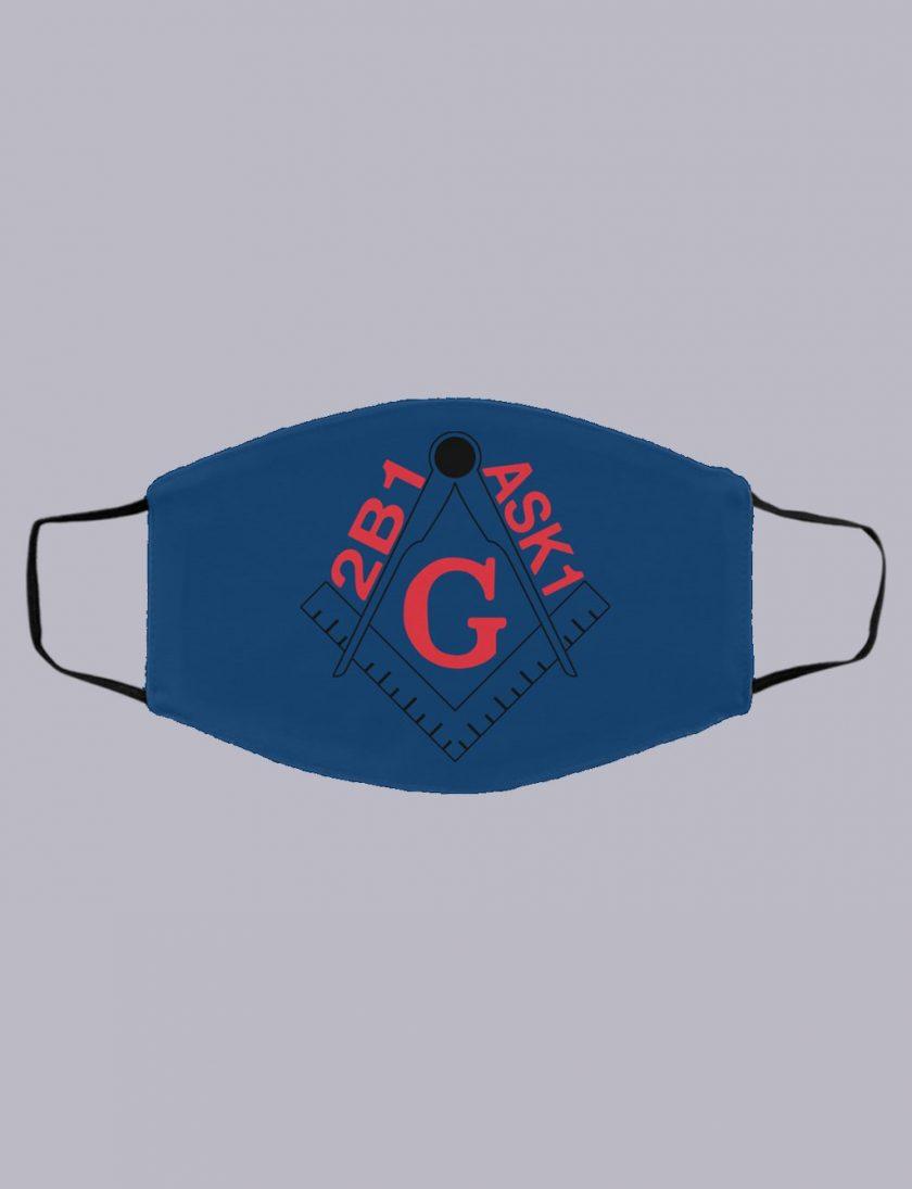 2B1ASK1 Freemasonry symbol masonic face mask royal blue