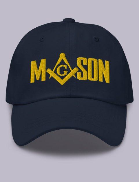 Gold Mason Masonic Hat Embroidery Mason masonic hat Navy gold