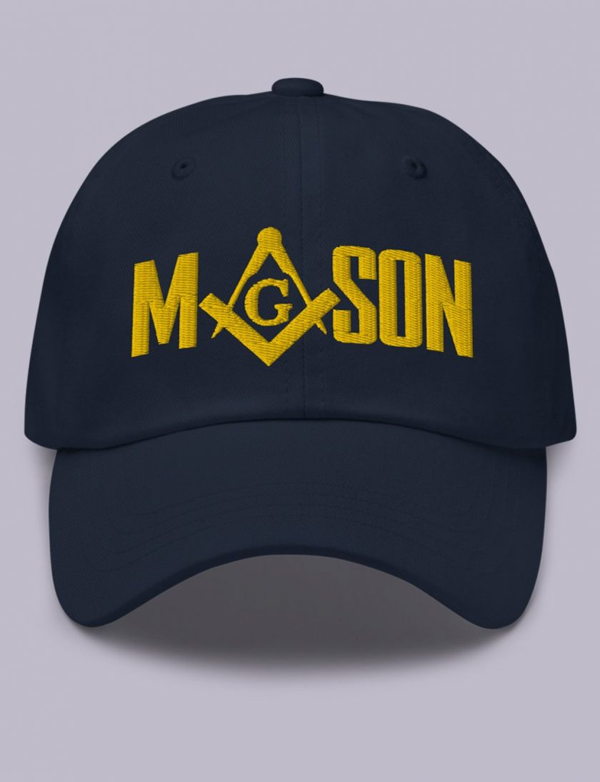 Embroidery Mason masonic hat Navy gold