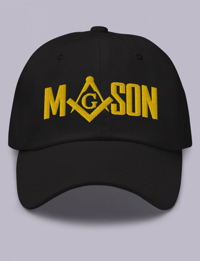 Embroidery Mason masonic hat black gold