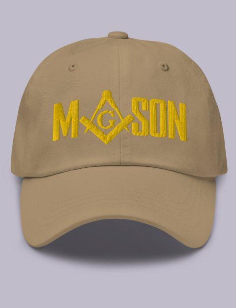 Gold Mason Masonic Hat Embroidery Mason masonic hat khaki gold