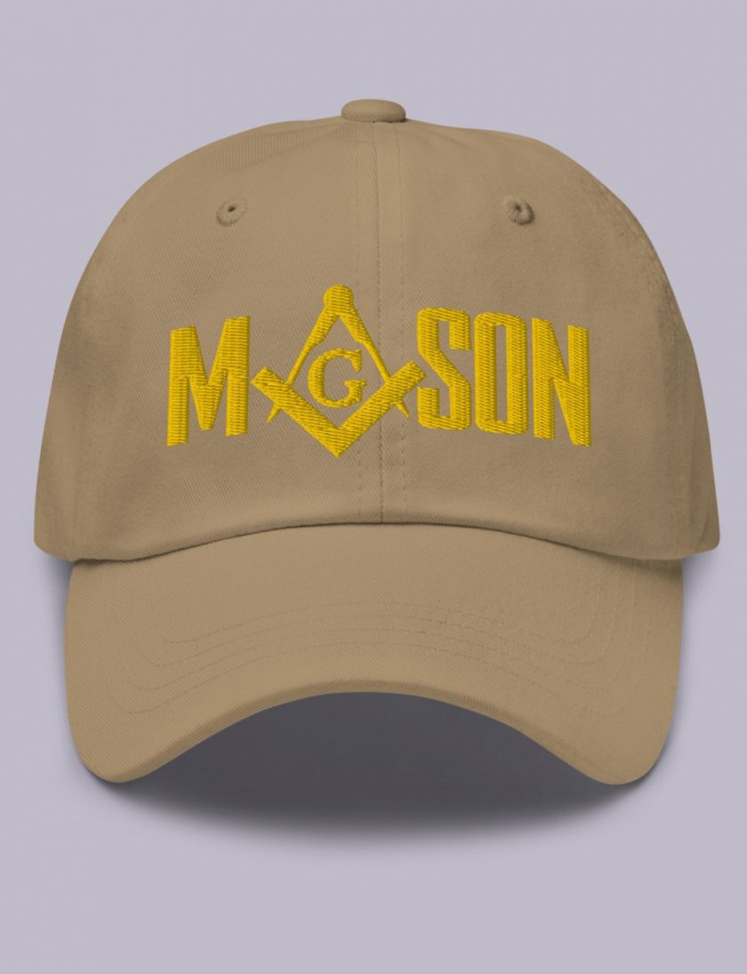 Embroidery Mason masonic hat khaki gold