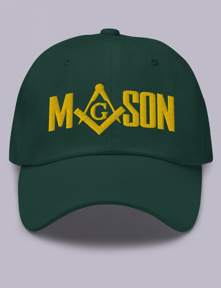 Embroidery Mason masonic hat srpuce gold